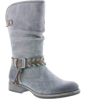 Rieker Damen 94778 Hohe Stiefel, (SchwarzBraunAnthrazit