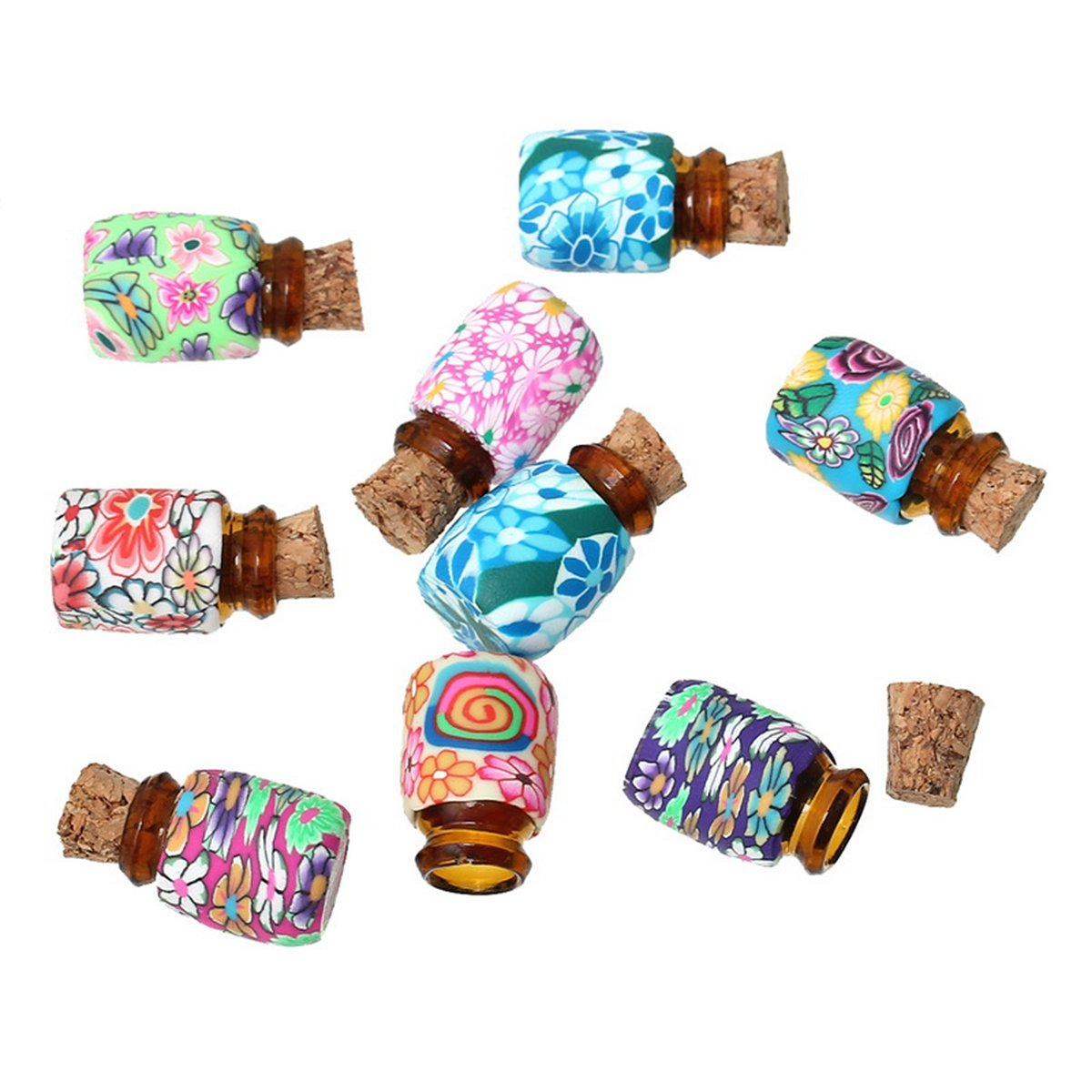 Mixd Color Mini Glass Bottles Vials With Corks for Message Weddings Wish Jewelry Party Favors 10pcs BETY51232