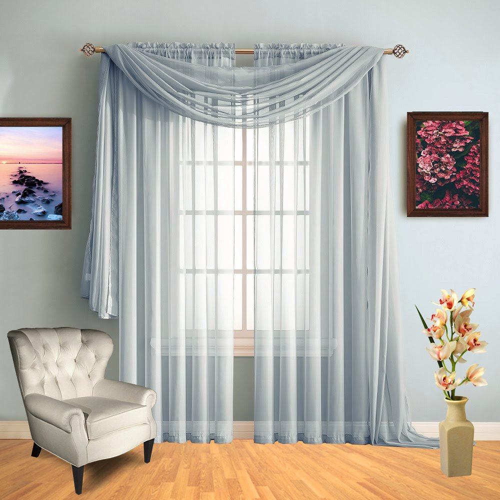 Infinite Home Beauty Sheer Window Scarf