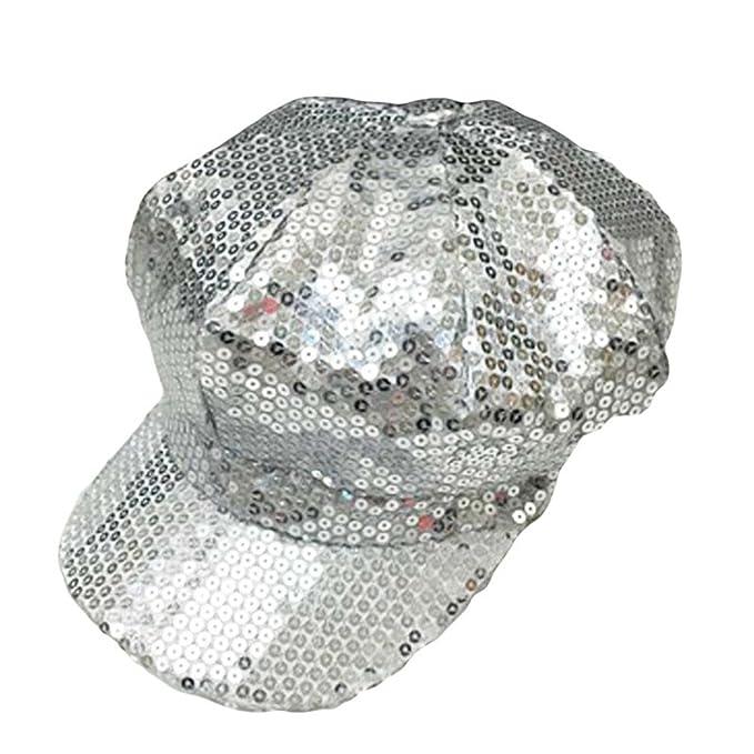 Amazon.com: actlati moda visera lentejuelas boina gorra para ...