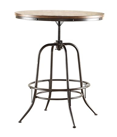 Amazoncom Homelegance Angstrom Rustic Wood And Metal Adjustable - Metal round dining table