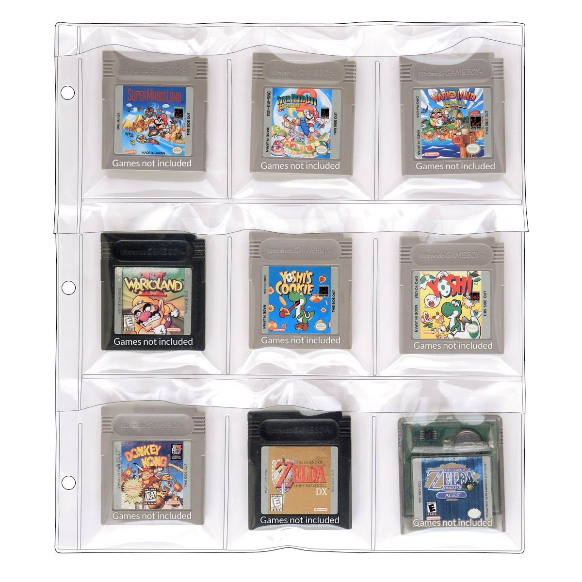 StoreSMART - 9-Pocket Binder Page for Game Boy Cartridges - 100-Pack - SPT1823F-100
