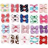 Sufermee 40 pcs (20 pairs) Baby Girls Ribbon Hair Bow Clips printed pattern Hairpins Non-slip Hair Barrettes Hair…