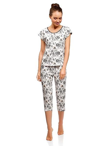 oodji Ultra Mujer Pijama con Pantalones Piratas Estampada, Blanco, ES 36 / XS