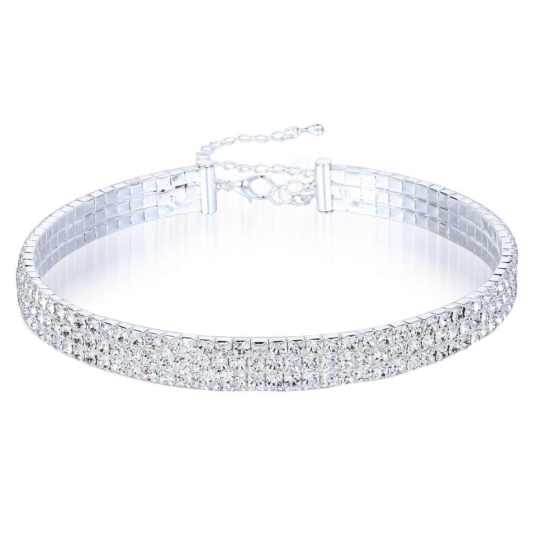 Clear Rhinestone Crystal Choker Necklace Wedding Collar Necklace Birthday Jewelry (3-Row)