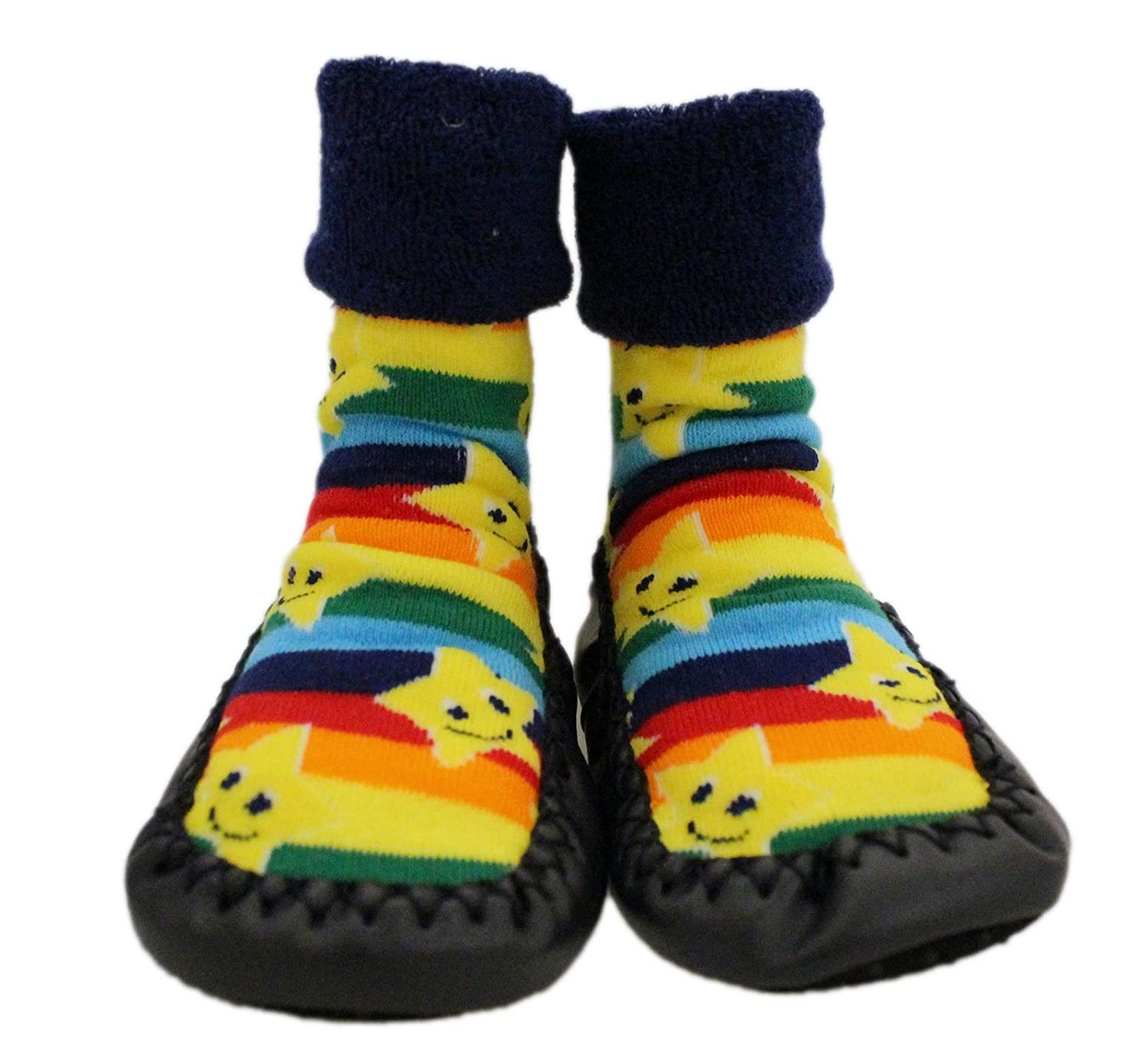 Amazon.com: Baby Rainbow Stars Thick Winter Anti-slip Shoes Socks Moccasins Age 1 2 3 …: Clothing
