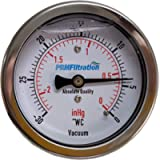 PRM Vacuum Gauge, 0 to -30'WC / 0 to -2inHg, 2.5 Inch Stainless Steel Case, Brass Internals, 1/4 Inch NPT Back Connect
