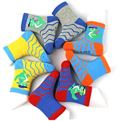 0-3 Years Old Baby Boys/Toddlers Cartoon Dinosaur Cotton Socks 4-Pack