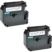 """Nineleaf 2 Pack Compatible Brother P-Touch MK221 MK-221 MK 221 Label Tape Black on White for Brother P-Touch PT-100 PT-65 PT-65SCCP PT-65VP PT-70HK Label Maker, 9mm (3/8"""") x 26.2ft (8m)"""