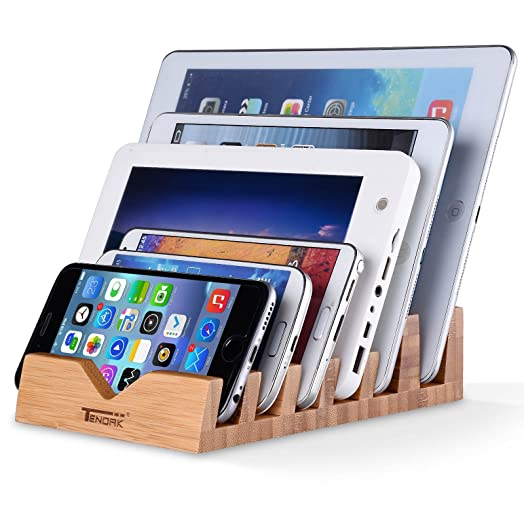 Tendak Tablet And Phone Station Stand Charging With 6 Slots Bamboo Charging  Station Stand Universal Multi