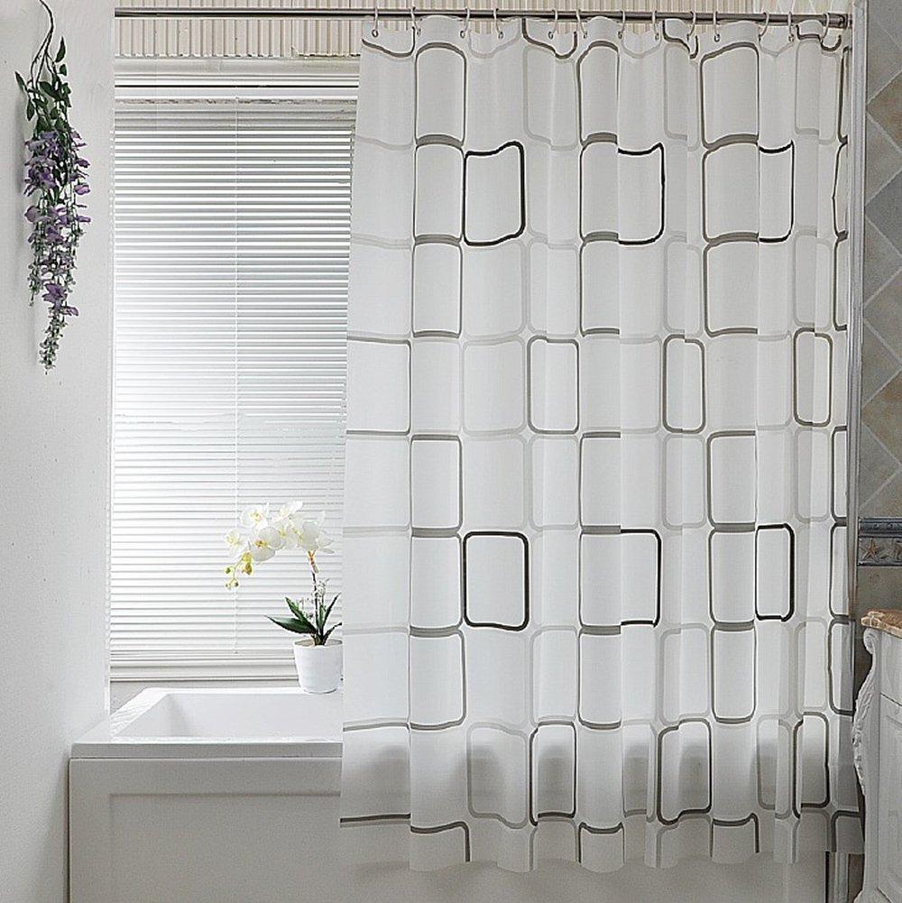 Elegante cortina de PEVA con patrón de cuadros.  Medida 280x200cm y opción a otras medidas.
