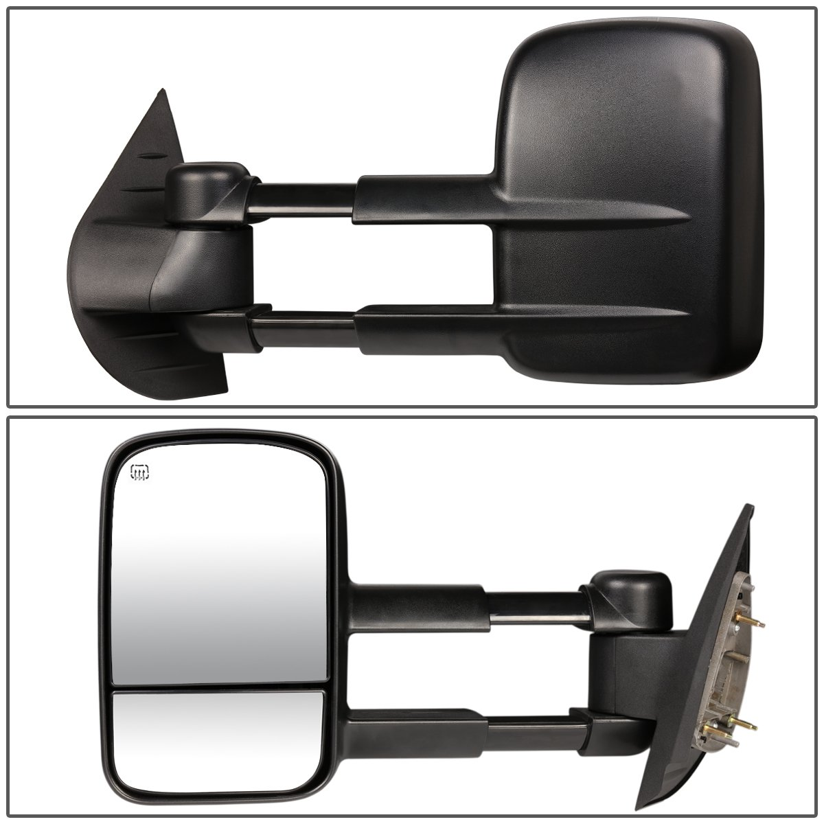 Heated Manual Extend Towing Side Mirror For Chevy//GMC GMT900 Pair of Power Black