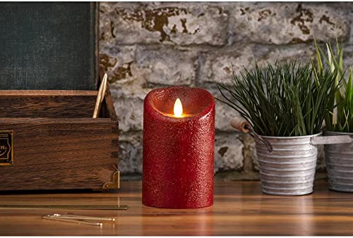 Darice LM20703452 Luminara Flameless Candle, Rio Country Pillar, 7 , Red