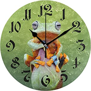 Tarity Adorable Frog Lotus Wall Clocks Battery Operated Silent Non Ticking Modern Round Wall Clock Decor for Bedrooms Kitchen Living Room Classroom Office Farmhouse (Cute Frog Lotus)