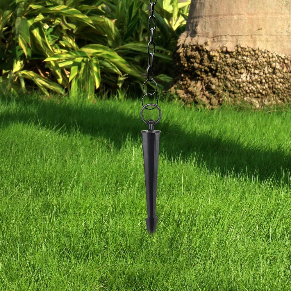 12 Inch Hanayard Rain Chain Anchoring Stake Black Iron Garden Decor Outdoor Steel Locator Power-Coated Decoration for Yard