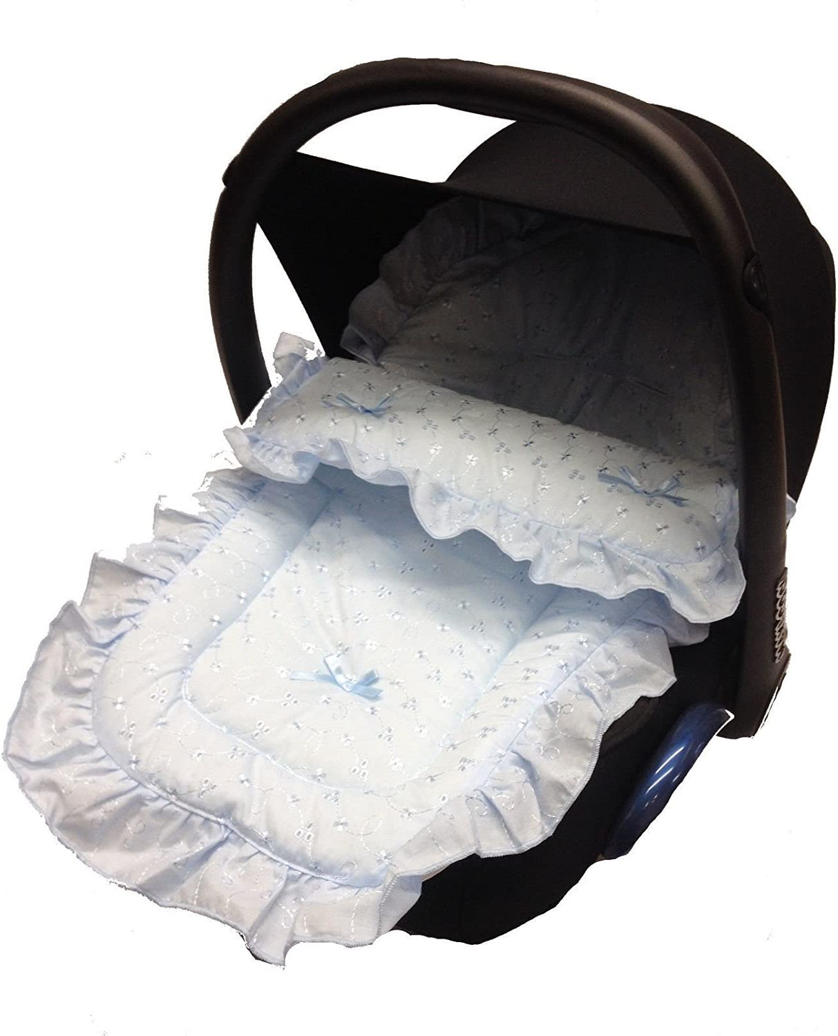 Blue Broderie Anglaise Car Seat Footmuff Cosy Toes For Babystyle Prestige
