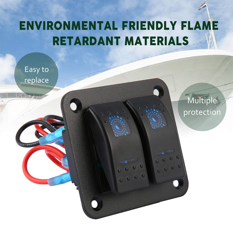 FairytaleMM 12V 24V 2 Canaux Double LED /étanche Interrupteur /à Bascule Panneau de Commande du disjoncteur