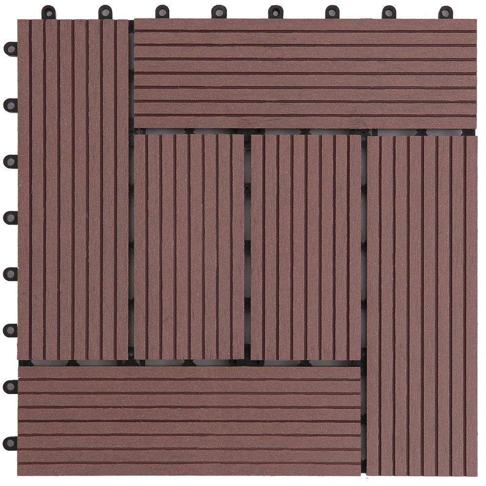 アイリスプラザ ジョイントタイル 十文字溝付 人工木 ブラウン 27枚セット B01NCW1W1W 11177  ブラウン