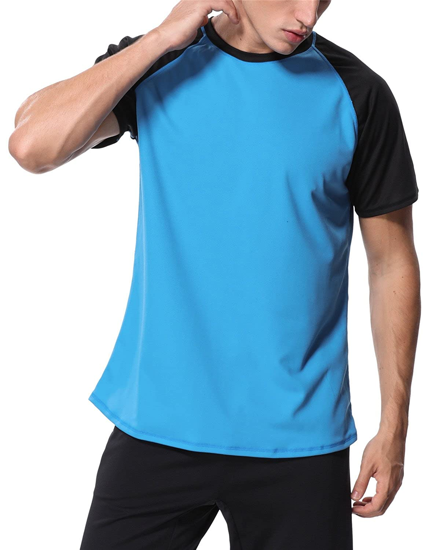 maysoul Mens Rash Guard Short Sleeve Swim Shirts Loose Fit Surf Swimming Shirts