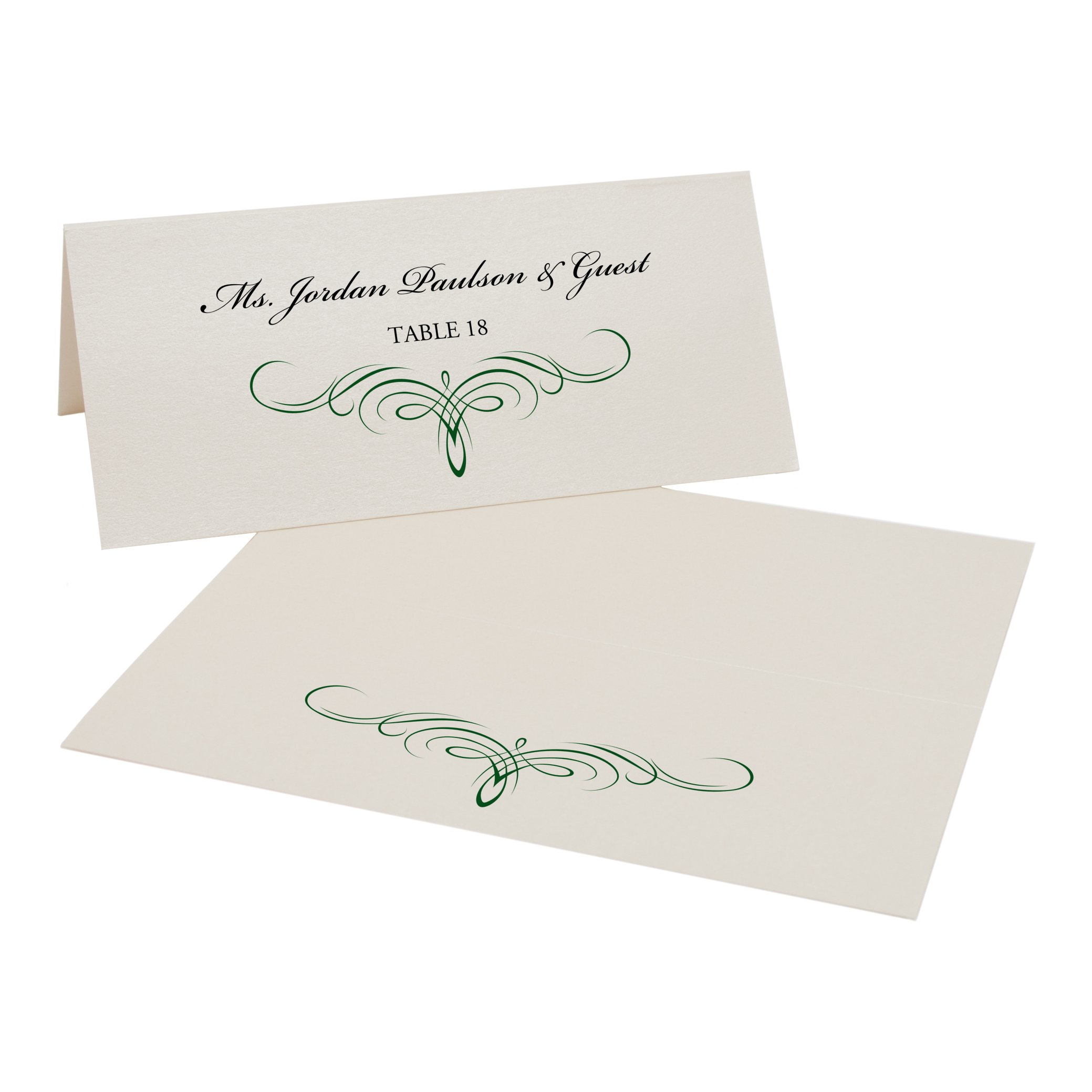 Decadent Flourish Place Cards, Champagne, Hunter Green, Set of 375 by Documents and Designs