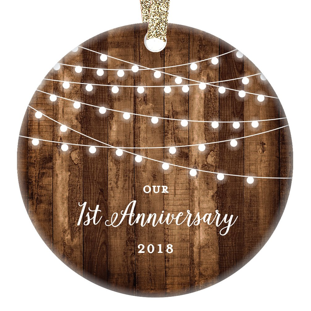 1st Anniversary Gifts, 2018 Dated First Anniversary Married Christmas Ornament for Couple Mr & Mrs Rustic Xmas Farmhouse Collectible Present 3
