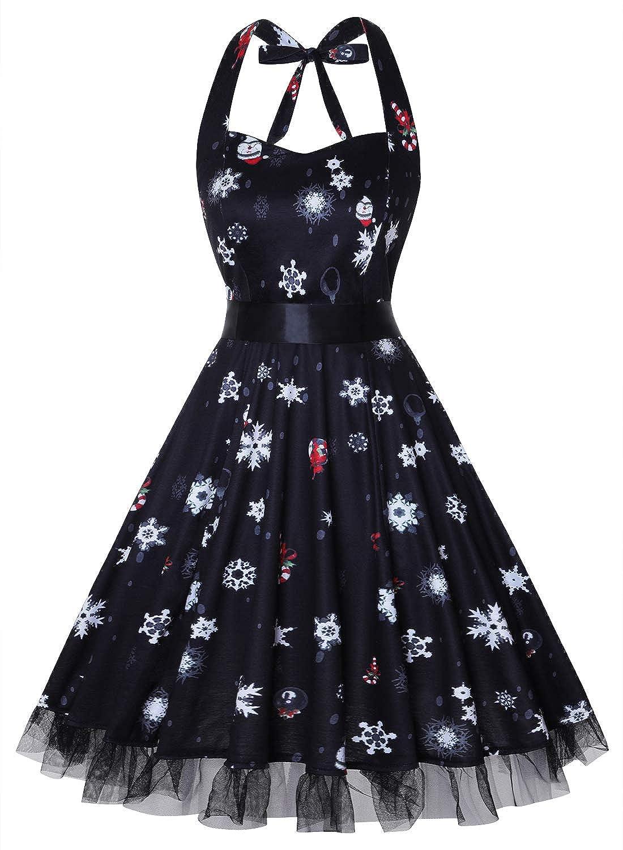 TALLA XXL. oten Vestidos 50s Vintage Rockabilly de Halterneck de Cóctel Fiesta de Las Mujeres Christmas Snow XXL