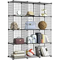 BRIAN & DANY 12-Cube Metal Wire Storage Cubes,DIY Wire Grid Bookcase, Multi-Use Modular Storage Shelving Rack, Black - 39 Panels