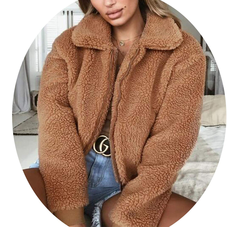 world-palm Fleece Jacket Women Autumn Female Wide Lapel Casual Teddy Cropped Bomber Jacket
