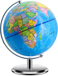 """World Globes for Kids - Size 9"""" Educational World Globe with Stand Adults Desktop Geographic Gobles Discovery World Globe Educational Toy for Children - Geography Learning Toy (Blue)"""