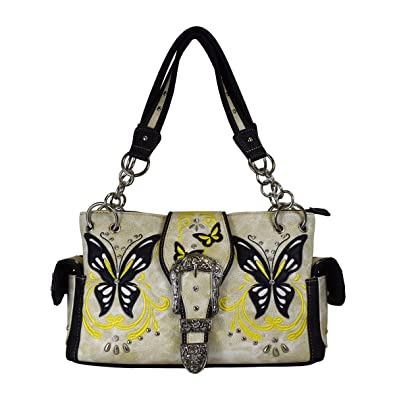 9bb459c7d4 Amazon.com  Western Buckle Butterfly Rhinestone Shoulder Bag Women s Top  Handle Totes Handbags (Beige)  Shoes