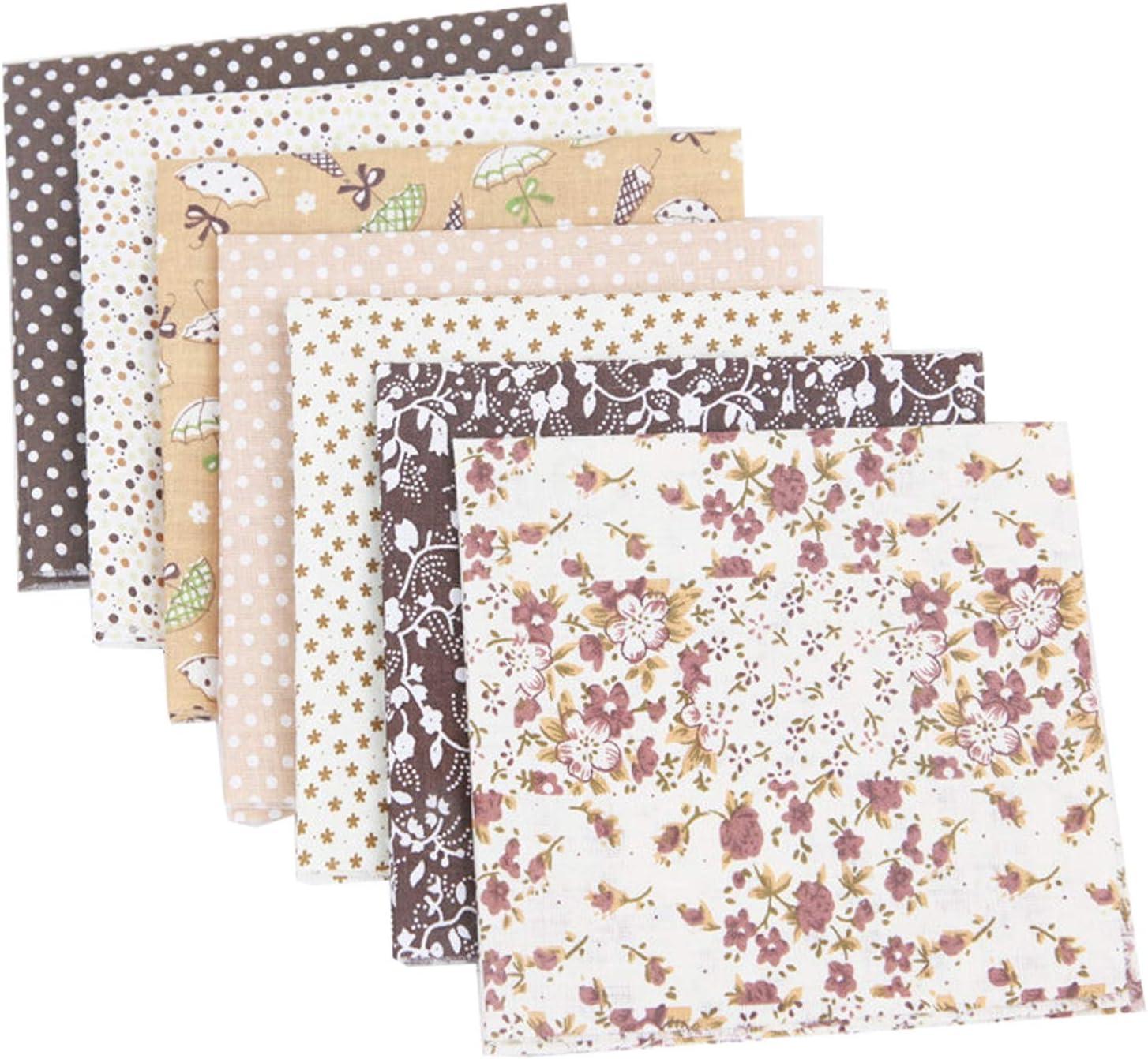 Travistar 7 Piezas 50 x 50cm Tela de Algodón Patchwork Paquete de Tela de Flores patrón Floral de Costura de Material Textil Manualidades Retales Algodón para Coser DIY Bricolaje, café