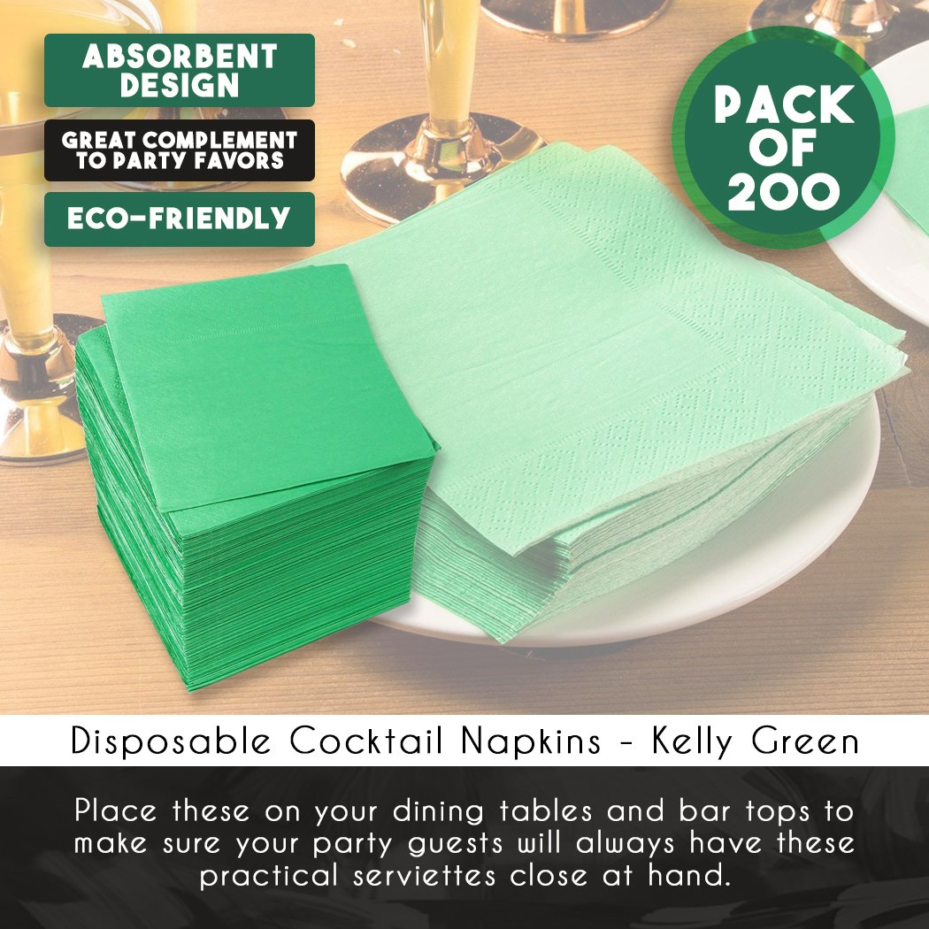 Cocktail Napkins - 200-Pack Disposable Paper Napkins, 2-Ply, Kelly Green, 5 x 5 Inches Folded by Blue Panda (Image #4)