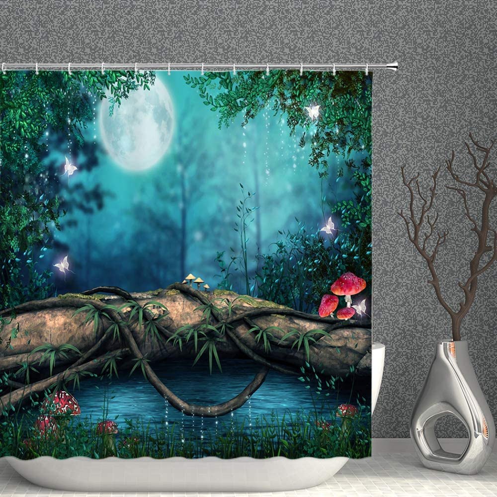 Enchanted Pond Decor Shower Curtain Fantasy Fairy Tale Forest Red Mushroom Green Plants Leaves Meadow Tree Log Moon Blue Fabric Bathroom Curtains,70x70 Inch Waterproof Polyester with Hooks
