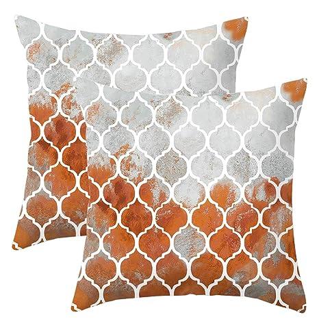 JOTOM Funda de Almohada para Cojín Suave Enrejado Geométrico Decoración para Sofa,Cama,Silla 45 x 45 cm,Juego de 2 (Rojo óxido)