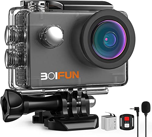 BOIFUN 4K 20MP Anti-Shake Underwater Action Sport Wi-Fi Camera with External Microphone Waterproof 40 Meters Remote Control and 20 Accessories 4k 20mp