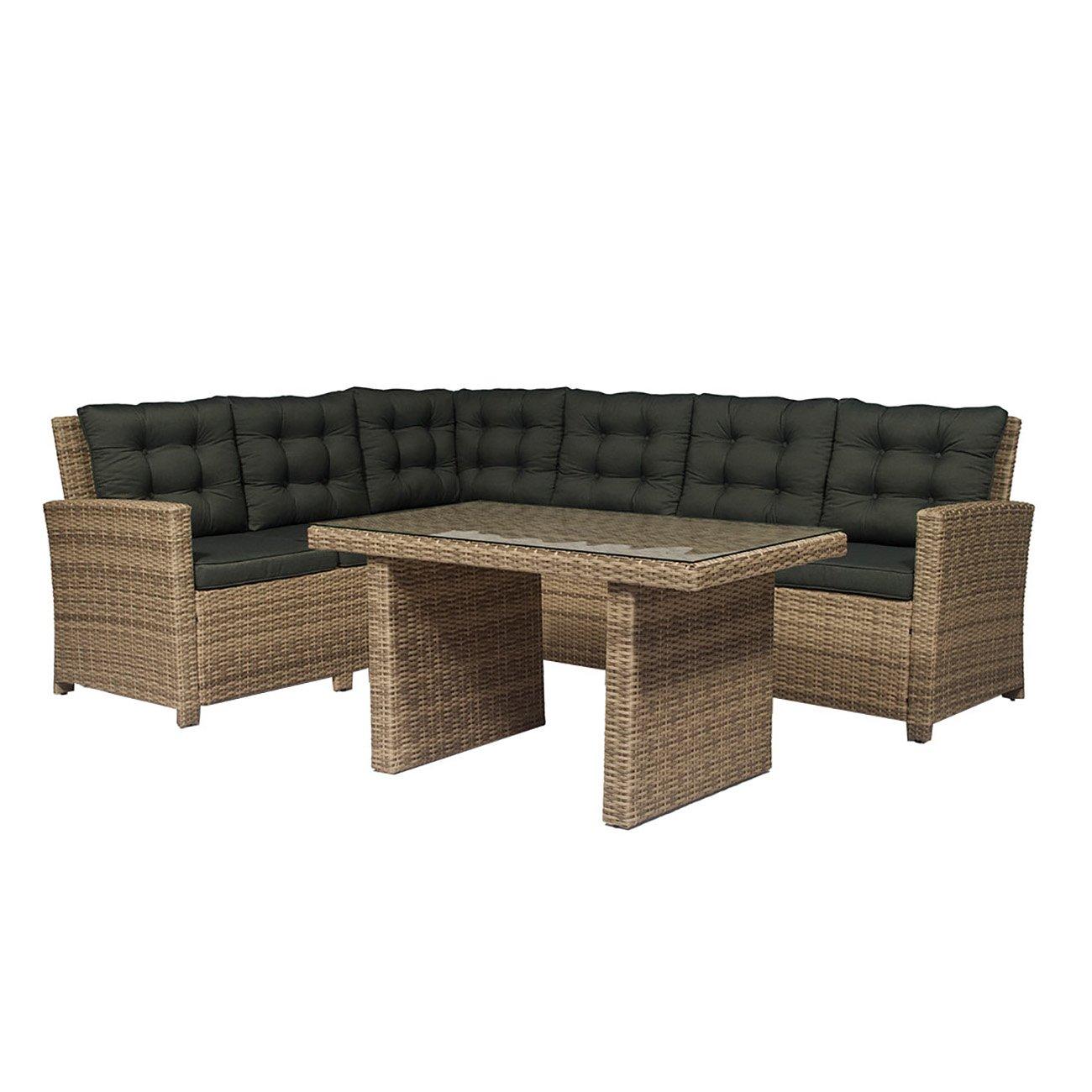 dining lounge set outliv stockholm essgruppe garten polyrattan anthrazit beige 3 teilig. Black Bedroom Furniture Sets. Home Design Ideas