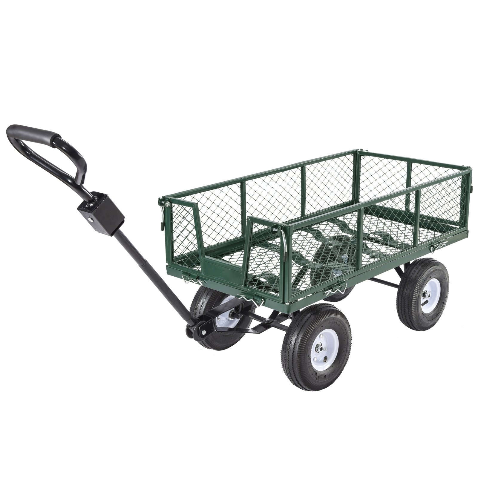 Uenjoy Garden Cart Multifunctional Folding Heavy Duty Wagon Durable Steel Cart, 660Ibs Green