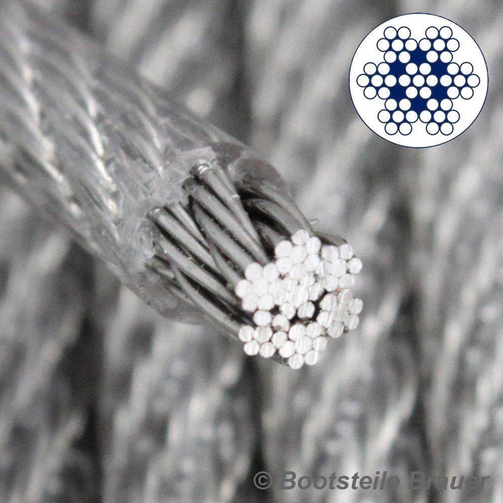 20 M de acero inoxidable de alambre cuerda de 7 x 7 D=3 mm medio suave PVC revestido acero inoxidable A4 cable de acero transparencia