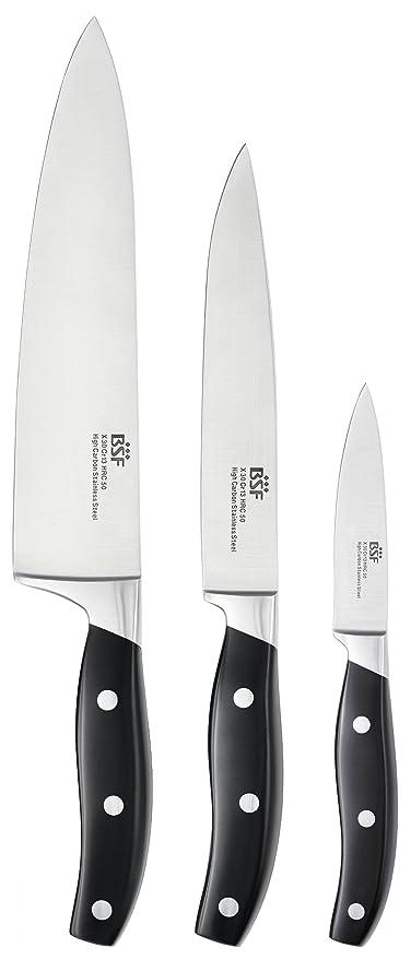 BSF Juego de Cuchillos Cocina, Acero Inoxidable Plateado y Negro, Centimeters