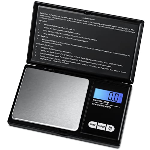 AMIR Digital Pocket Scale, (200 x 0.01g) Jewelry Scales, Smart Scales with LCD Backlit Display and Tare Function, Stainless Steel for Accurate Gram and Slim Design (Battery Included)