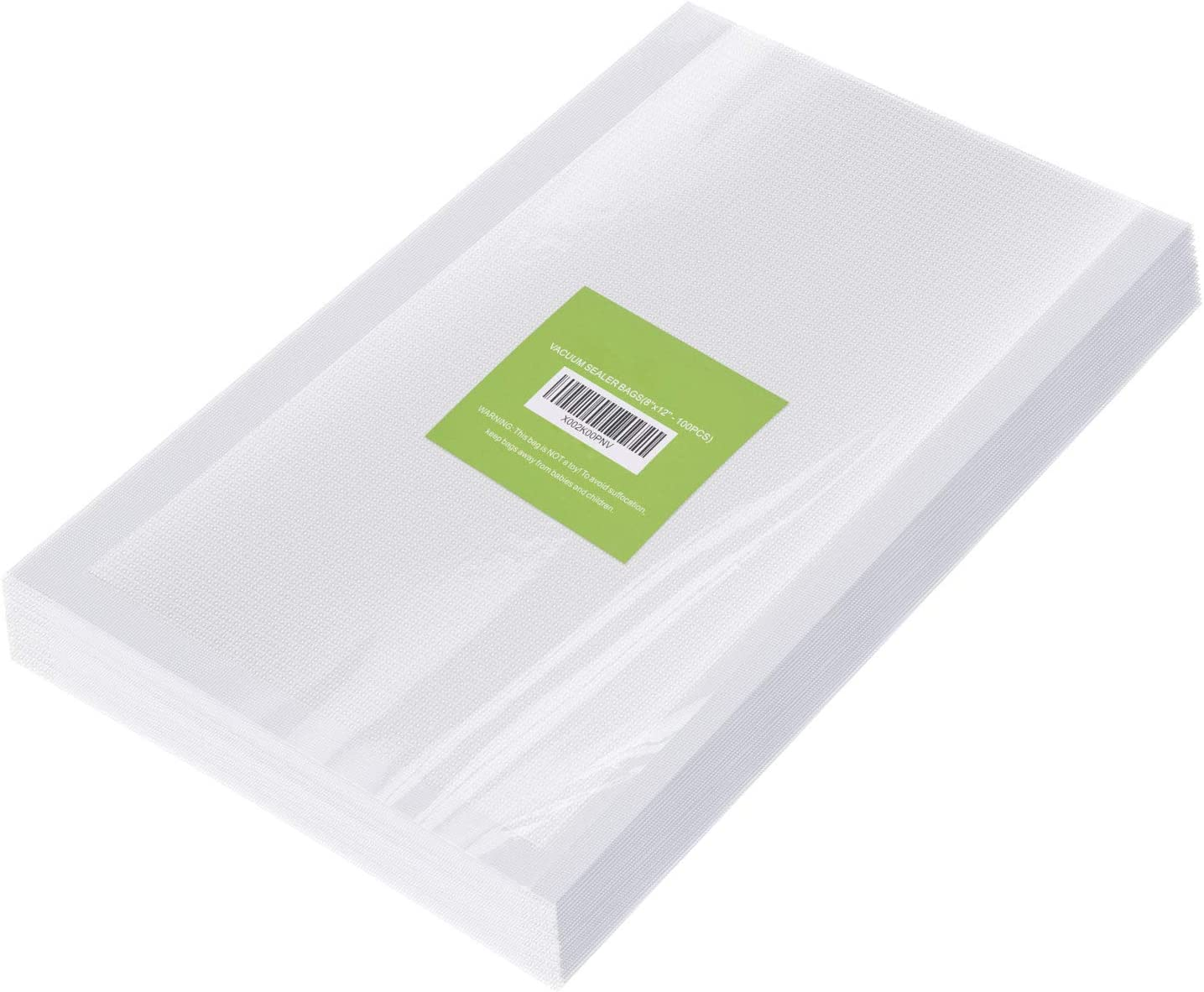 100 Counts Vacuum Sealer Bags - Heavy Duty Commercial Grade Food Saver Pre-cut Bags with Size 8''x 12'' - Sous Vide Vac Bag Perfect for Heat Seal Food Storage, BPA Free