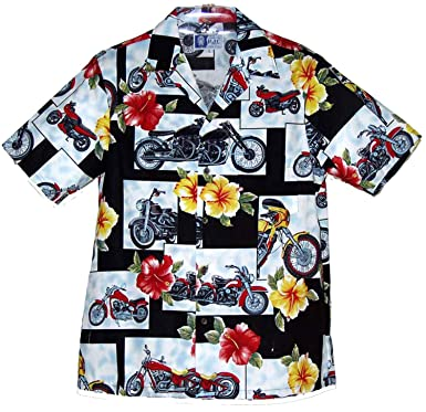 20a294fa Amazon.com: Motorcycle Hibiscus Men's Hawaiian Aloha Shirt in Black ...