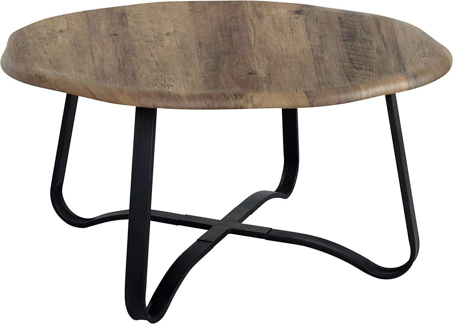 """FINECASA Accent Coffee Table, Irregular Table Top Coffee Table with Cross Rack, Sofa Table, Office Table, Cocktail Table, Center Tables for Living Room Reception Room, 35.4""""Dx18.1""""H, Wood"""
