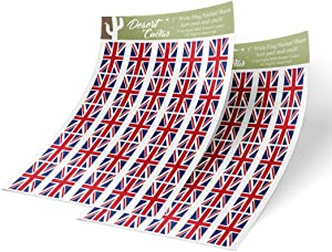 Desert Cactus United Kingdom Country Flag Sticker Decal 1 Inch Rectangle Two Sheets 50 Total Pieces Kids Logo Scrapbook Car Vinyl Window Bumper Laptop Great Britain R