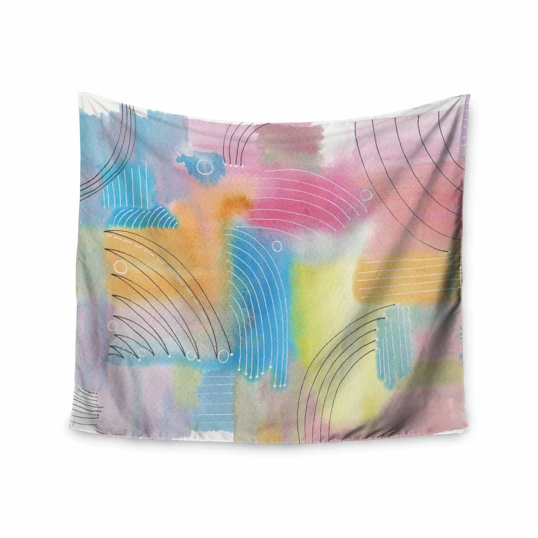 Kess InHouse Viviana Gonzalez Improvisation 60 Pastel Multicolor Abstract Contemporary Watercolor Mixed Media Wall Tapestry