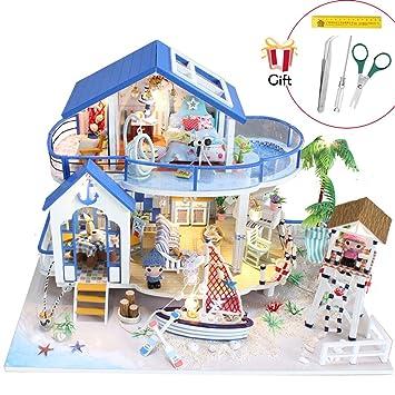 Jeteven Juegos de Miniaturas Casa de Muñecas de Madera DIY Miniatura de Casa Accesorios para Muebles