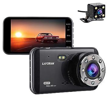Laydran FHD doble lente coche Dash Cam, 4,0 pulgadas IPS vehículo dos vías