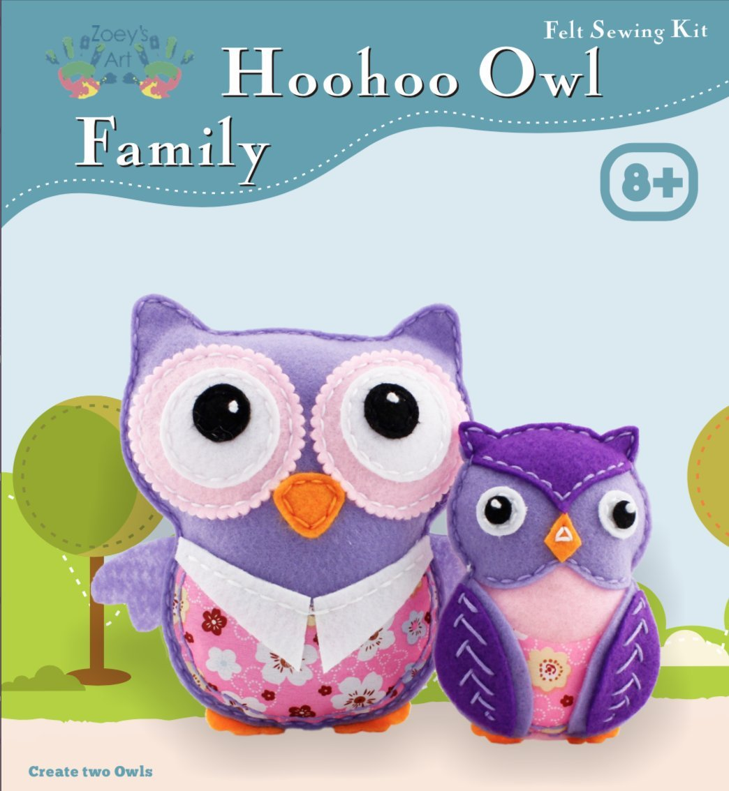 Art Craft Kits for Girls : Sew and Stuff Mini Kit for Kids, Owl Family Project, Creative Fun and Educational Encouragement Your Child Will Love - Create A Memorable Sewing Experience to Cherish