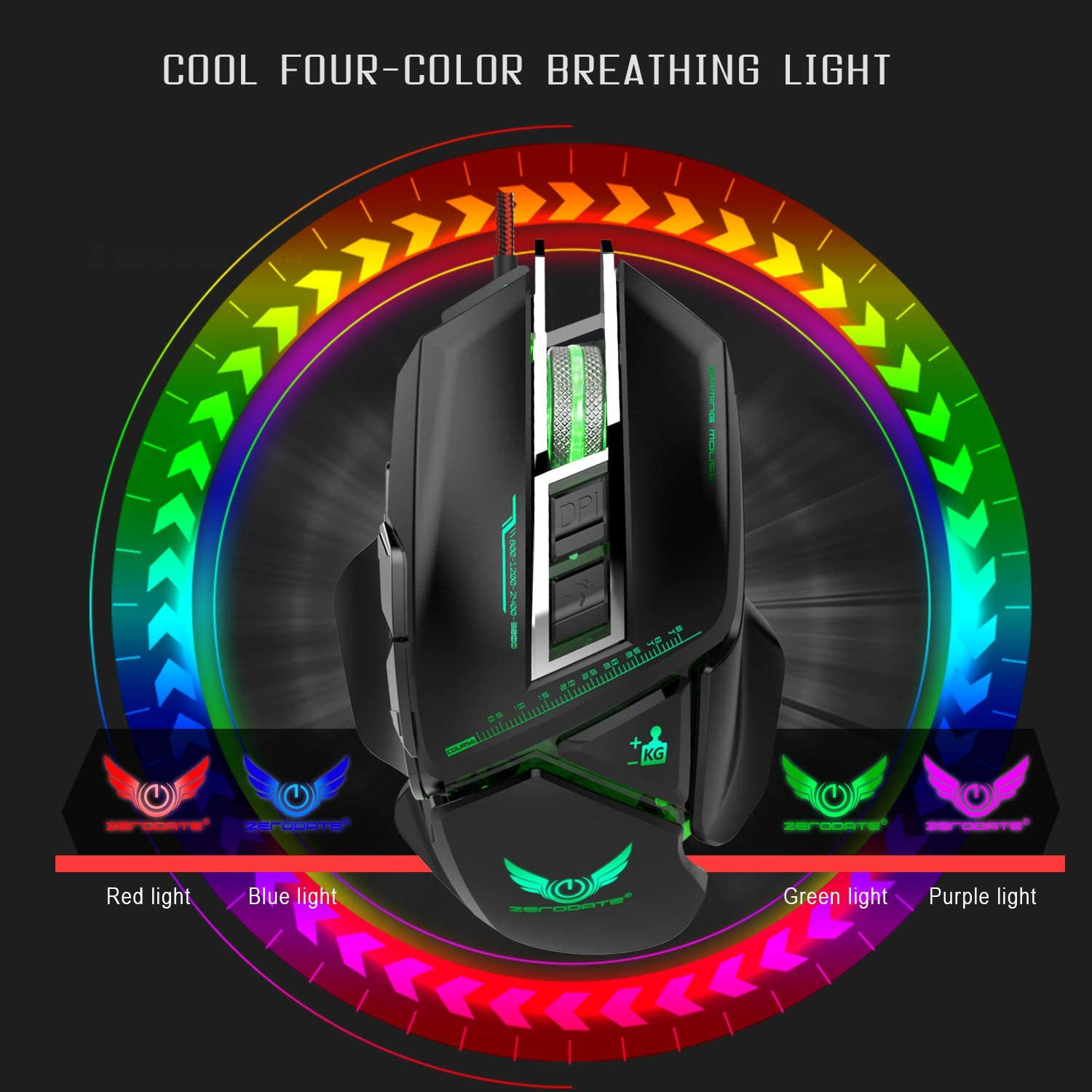 LED Breathing Light Mouse Full Key Macro Definition Free Set Addition and Subtraction Weight Block 1200//1600//2400//3200DPI for Office Games,Black GWX Wired Mechanical Mouse