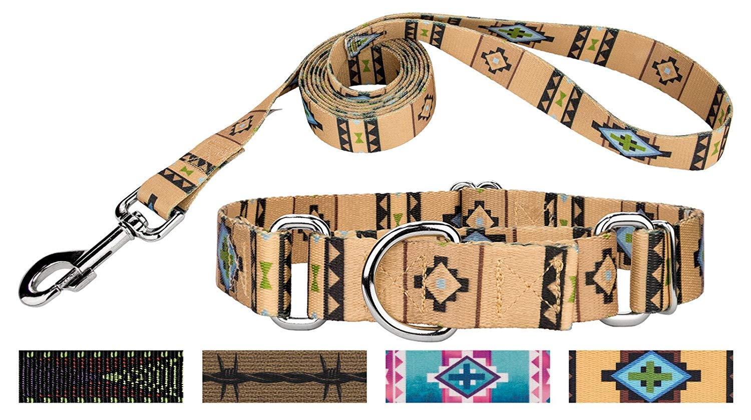 Country Brook DesignTM Patterned Martingale Dog Collar & Leash Set-Native Southwestern-L
